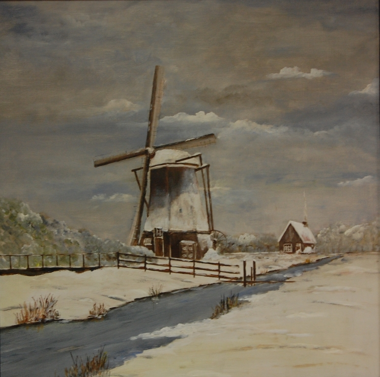 Molen in winter van Max Koekkoek